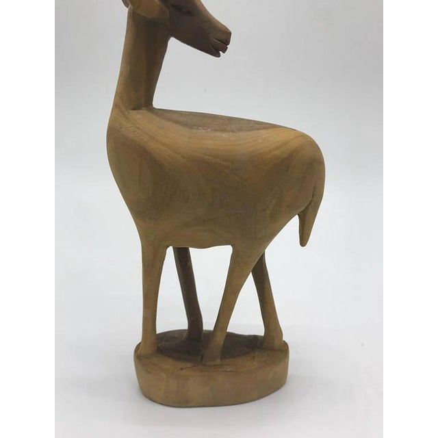 Mid-Century Handcarved Wood Gazelle For Sale - Image 4 of 8