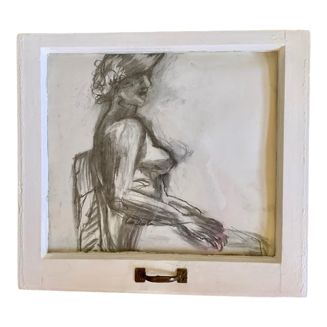 """""""Lady in the Window"""" Contemporary Figurative Charcoal Drawing, Framed For Sale"""