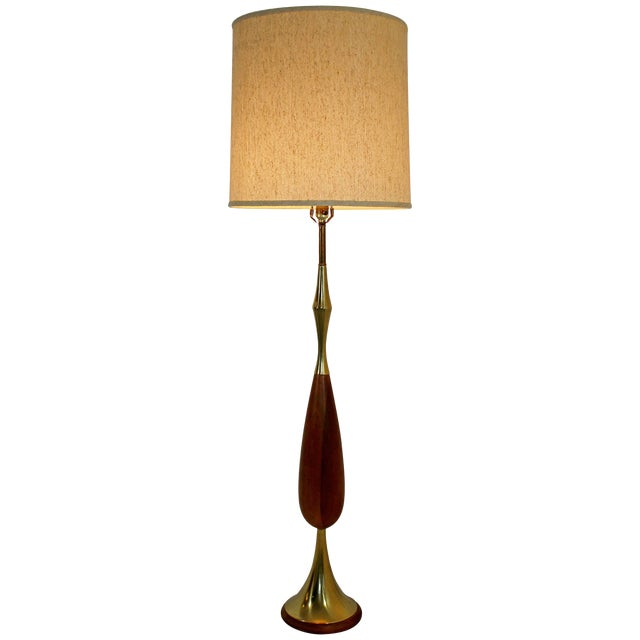 Mid-Century Modern Laurel Brass and Wood Floor Lamp With Original Shade, 1960s For Sale