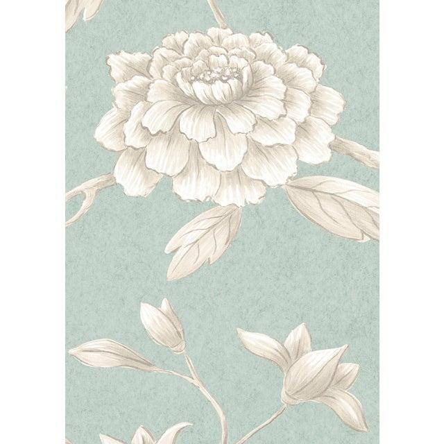 English Lewis & Wood Jasper Peony Green Glaze Botanic Style Wallpaper Sample For Sale - Image 3 of 4