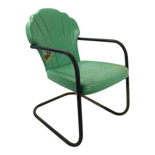 Cantilevered Metal Garden Lawn Chair For Sale