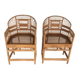 Vintage Mid Century Rattan Arm Chairs- a Pair For Sale