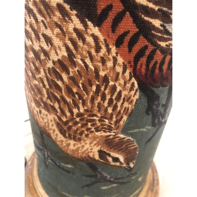 Linen American Pheasant and Hen Lamp-Ralph Lauren Style For Sale In Santa Fe - Image 6 of 11