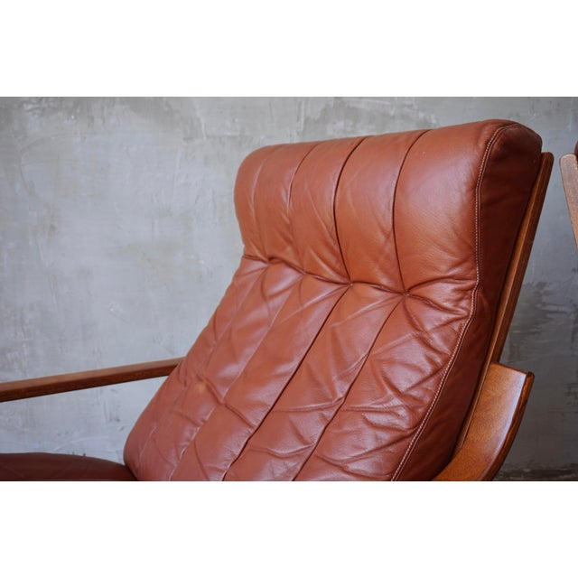 1960s Leather Lounge Chairs With Ottomans For Sale - Image 5 of 7