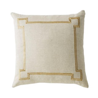 Aria Sand Linen Accent Pillow With Metallic Embroidery For Sale