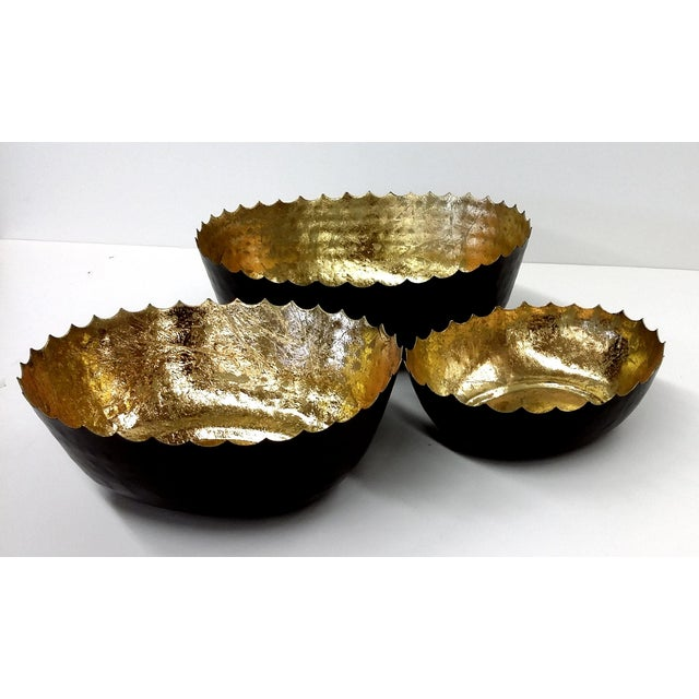 Hammered Iron Bowl With Gilt Gold - Set of 3 - Image 4 of 7