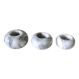 Minimalist White and Gray Spherical Marble Tea Light Candle Holders - Set of 3