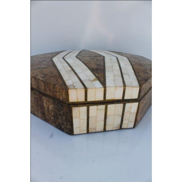 Maitland-Smith Octagonal Stone & Bone Box - Image 4 of 8