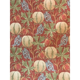 Traditional G P & J Baker Pumpkins Red/Green Fabric - 3 5/8 Continuous Yards For Sale