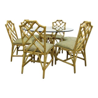 McGuire Chinese Chippendale Bamboo Rattan Chairs and Round Table, Set For Sale