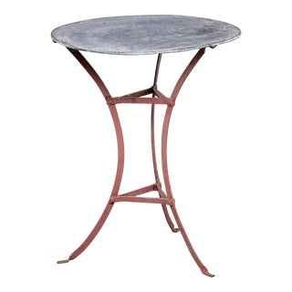 1950s Small French Zinc-Top Bistro Table For Sale
