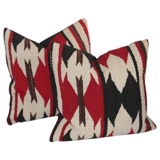 Pair of Strong Geometric Navajo Weaving Pillows For Sale
