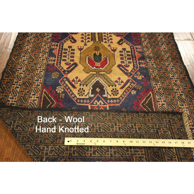 "Navy Blue Tribal Afghan Balouch Rug - 3'1"" x 9'2"" - Image 8 of 8"