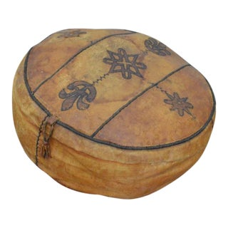 Vintage 1930s Moroccan Leather Pouf Ottoman