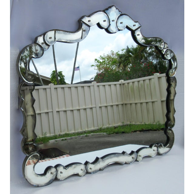 1950s Large 1940's-50's Hollywood Regency Era, Venetian-Style Antique Acid Finished Wall Mirror For Sale - Image 5 of 13