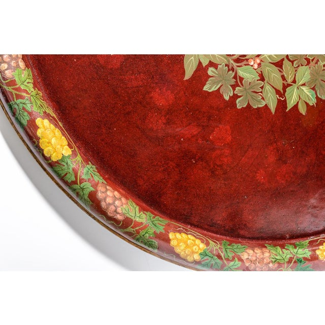 """Antique Floral Tole Tray, 48"""" Across, C.1890 French For Sale - Image 10 of 12"""