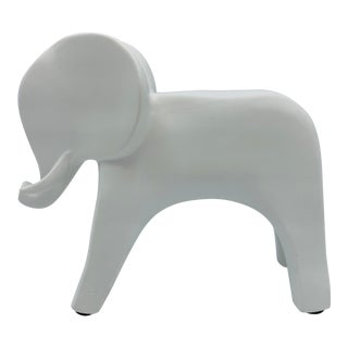 Modern White Ceramic Elephant Sculpture For Sale