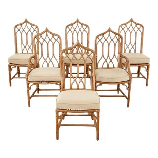 Set of Six McGuire Organic Modern Rattan Dining Chairs For Sale