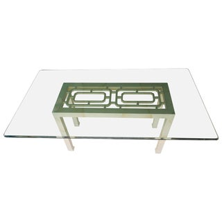 Modern Hollywood Regency Henredon Faux Goatskin Lacquer Dining Table For Sale