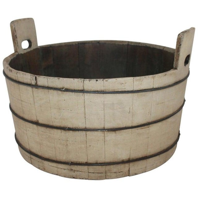 Wood 19th Century Original Cream Painted Wash Tub For Sale - Image 7 of 7