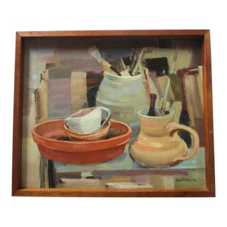 Mid Century Modern Painting Artist Brushes Still Life Pots Studio Vintage Signed For Sale