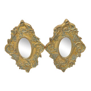 Italian Style Distressed Gilt Painted Mirrors - A Pair For Sale