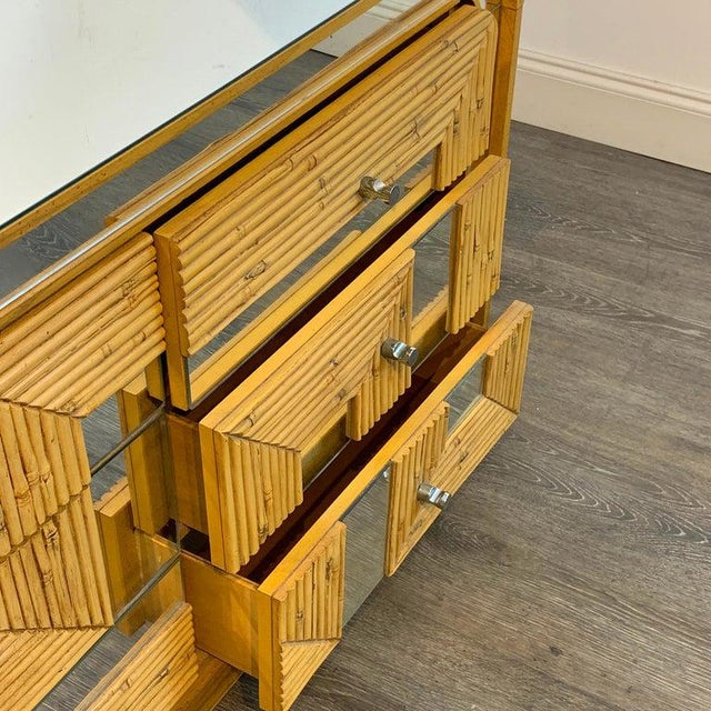 Mid-Century Modern Fabulous Midcentury Mirror Inlaid Segmented Bamboo Dresser or Credenza For Sale - Image 3 of 12