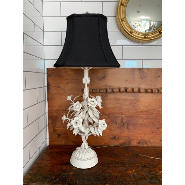 Gold Vintage Mid Century Modern White Tole Floral Lamp For Sale - Image 7 of 7