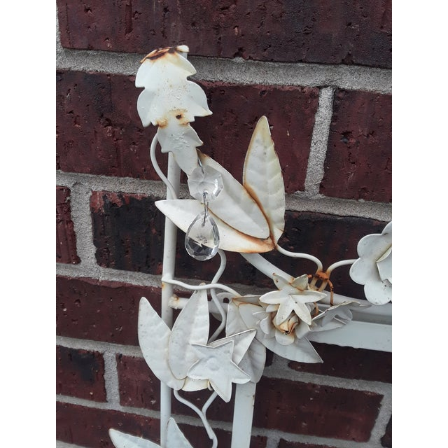French Country White Tole Picture or Mirror Metal Frame With Flowers, Leaves and Crystals For Sale - Image 3 of 9