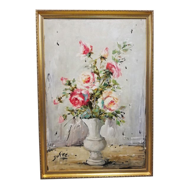Bouquet of Roses Signed French Oil Painting on Linen For Sale