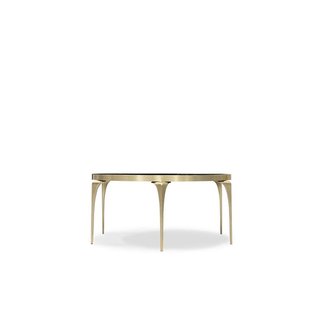 With its lux, polished black Sahara Noir marble top and satin brass legs the Rita Cocktail Table embodies sophisticated...