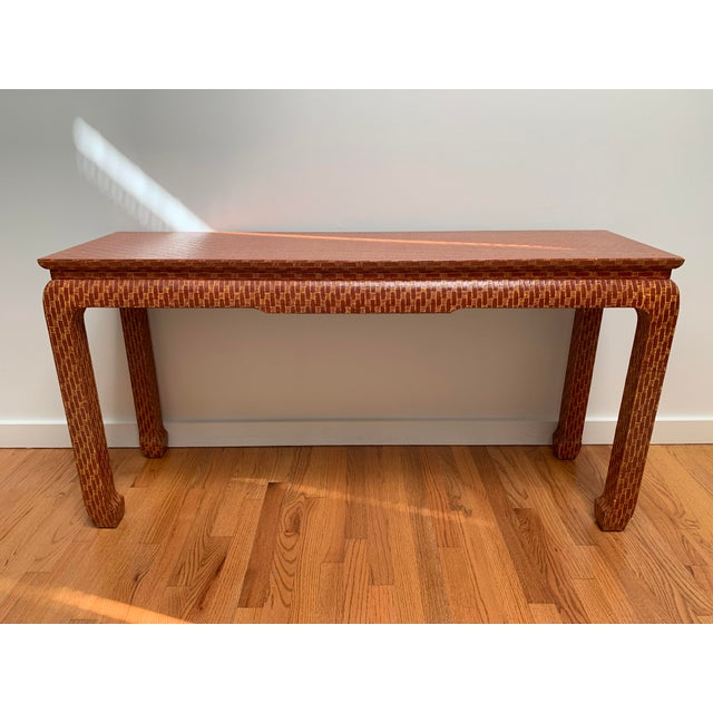 Baker Furniture Company 1970s Asian Style Baker Lacquered Grasscloth Console Table For Sale - Image 4 of 13