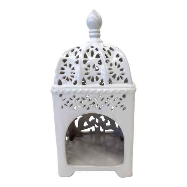 Marrakesh-Style White Ceramic Candleholder - Image 1 of 7