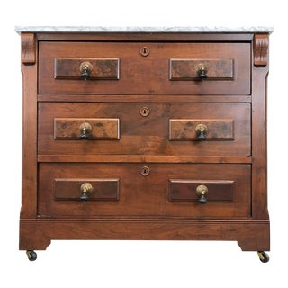 Victorian Burl Walnut Three Drawer Bachelor Chest With Marble Top For Sale