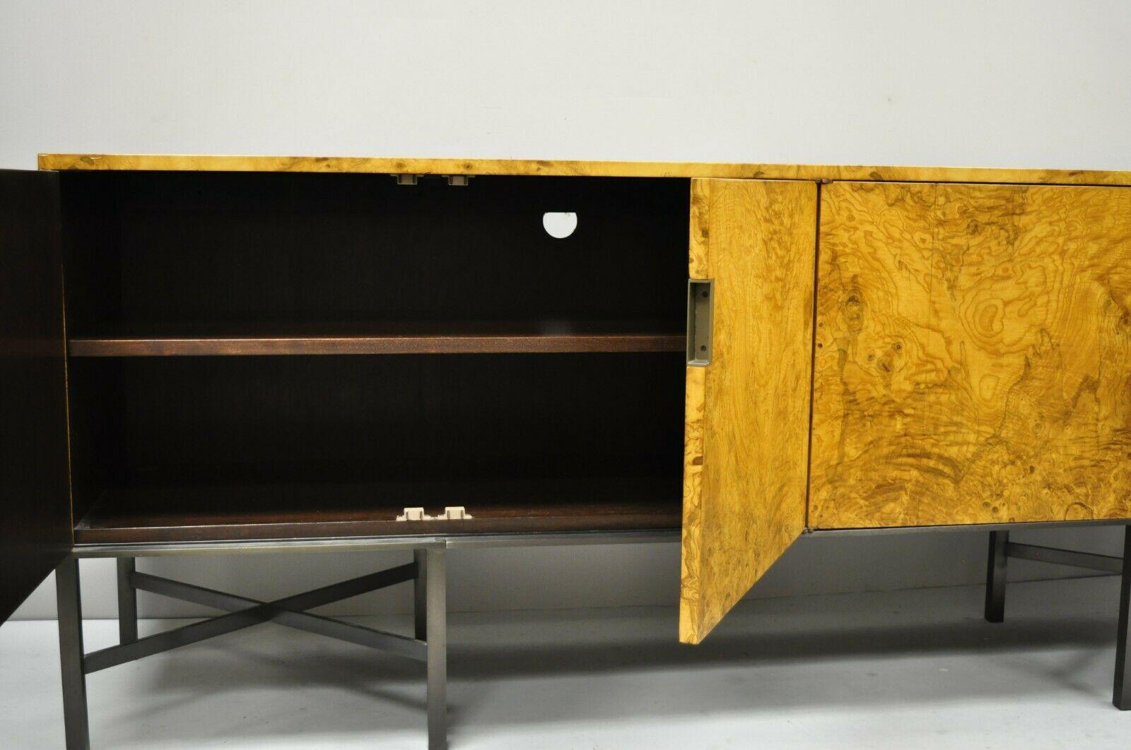Roger Sprunger for Dunbar Burled Olivewood Credenza Cabinet Sideboard Buffet