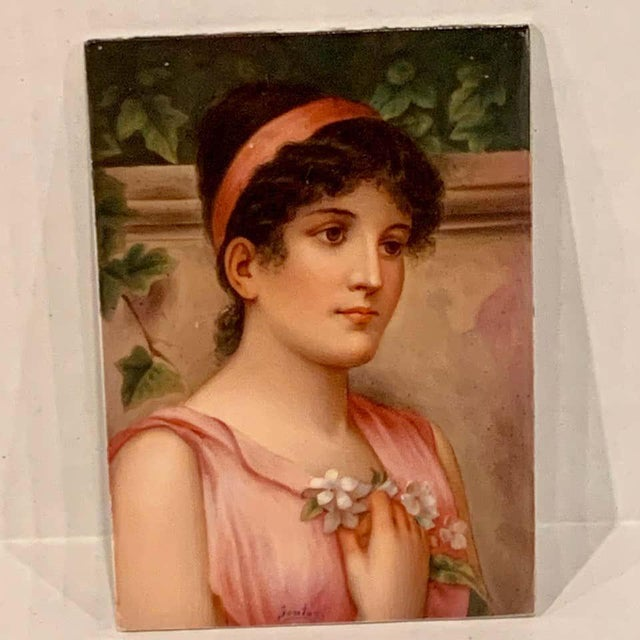 Fine German Painting on Porcelain of a Garden Muse For Sale In West Palm - Image 6 of 13