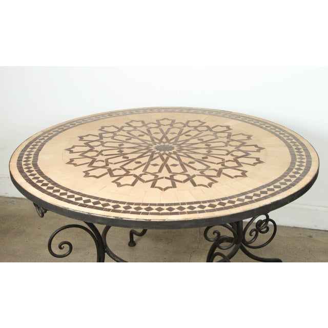 Moroccan Round Mosaic Outdoor Tile Table on Iron Base 47 In For Sale In Los Angeles - Image 6 of 10
