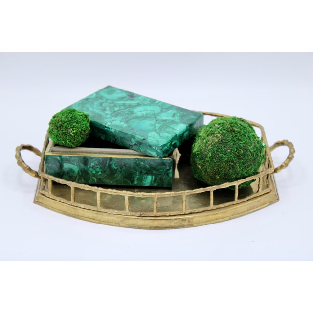Metal Mid 20th Century Brass Bamboo Tray For Sale - Image 7 of 8