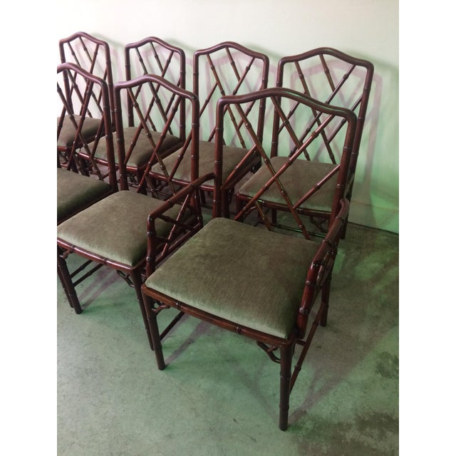 1960s Vintage Rosewood Chinese Chippendale Style Faux Bamboo Dining Chairs- Set of 8 For Sale In San Francisco - Image 6 of 13