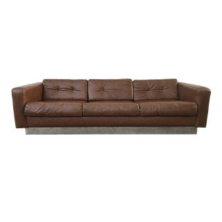 Brown Naugahyde and Chrome Sofa by Patrician