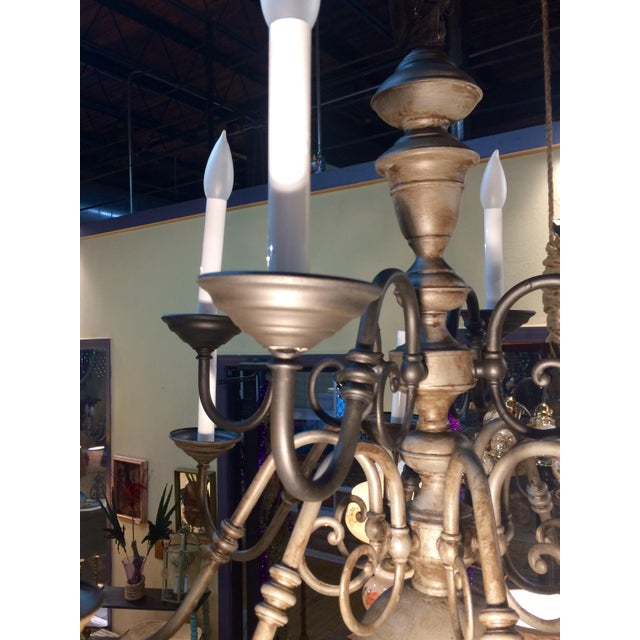 Traditional Eleven Light Brass Chandelier For Sale - Image 9 of 9