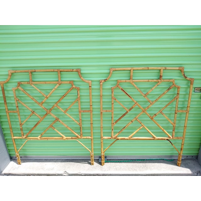 1960s Chippendale Design Burnt Bamboo Palm Beach Style Twin Headboards - a Pair For Sale - Image 9 of 9