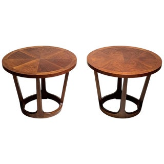 Pair of Vintage Lane Round Drum End Table 997-22 / Rhythm Collection For Sale