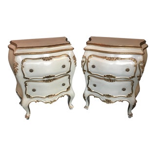 Italian Bedside 2-Drawer Bombe Commodes - A Pair