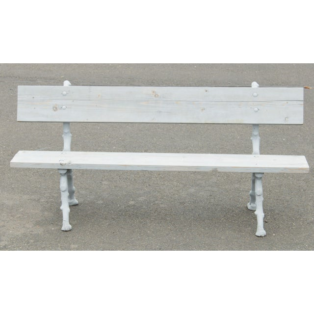 French Quality Cast Iron Faux Bois Garden Park Bench For Sale - Image 3 of 13