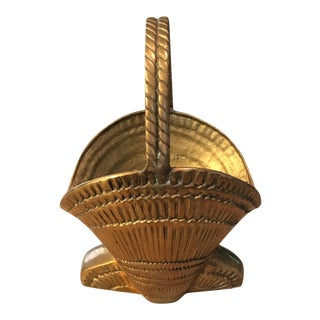 Vintage Solid Brass Sea Shell Shaped Basket with Handle For Sale