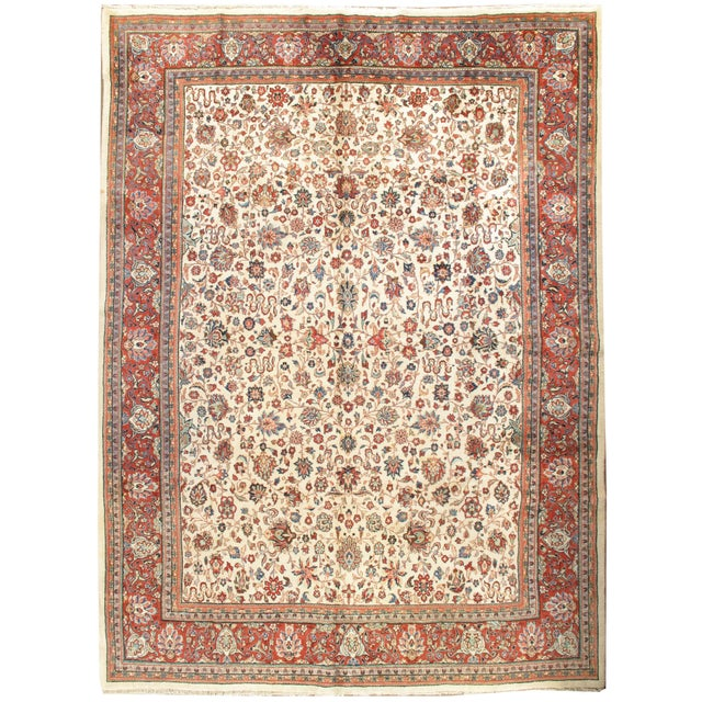 Vintage Ivory Sarouk Rug 8'9 X 11'9 For Sale In New York - Image 6 of 6