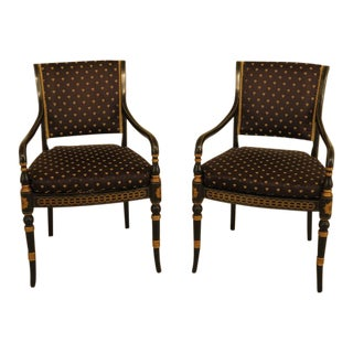 Neoclassical Black & Gold Decorated Arm Chairs - a Pair For Sale