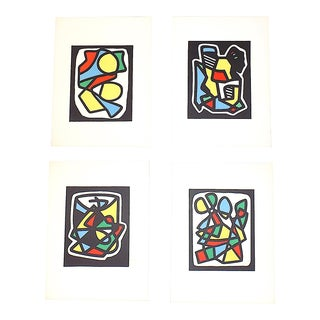 Mid 20th Century French Abstract Limited Edition Lithographs - Set of 4 For Sale