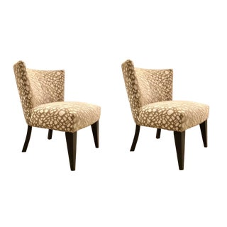 Modern Cut Beige and White Cut Velvet Tribeca Slipper Chairs Pair For Sale